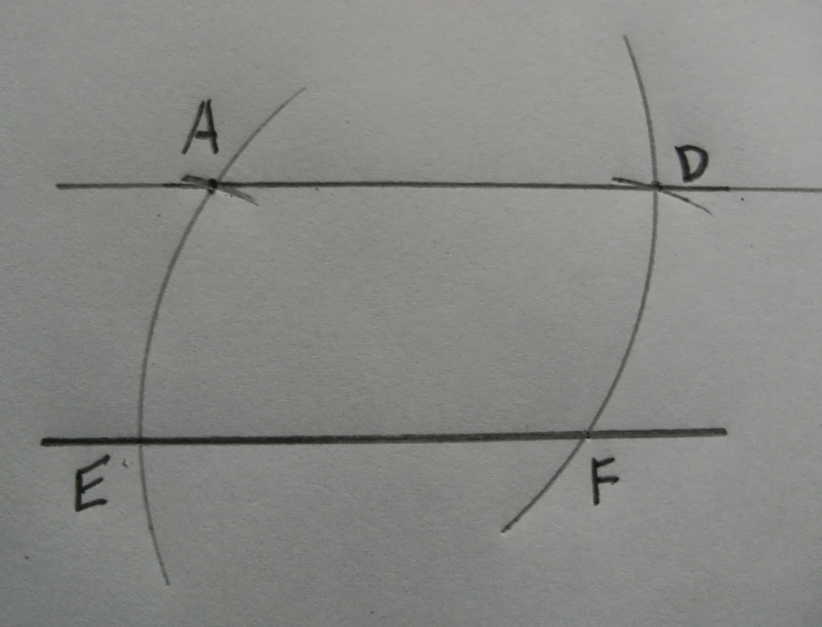 Drawing Parallel Lines With Compass : To construct a line parallel given through
