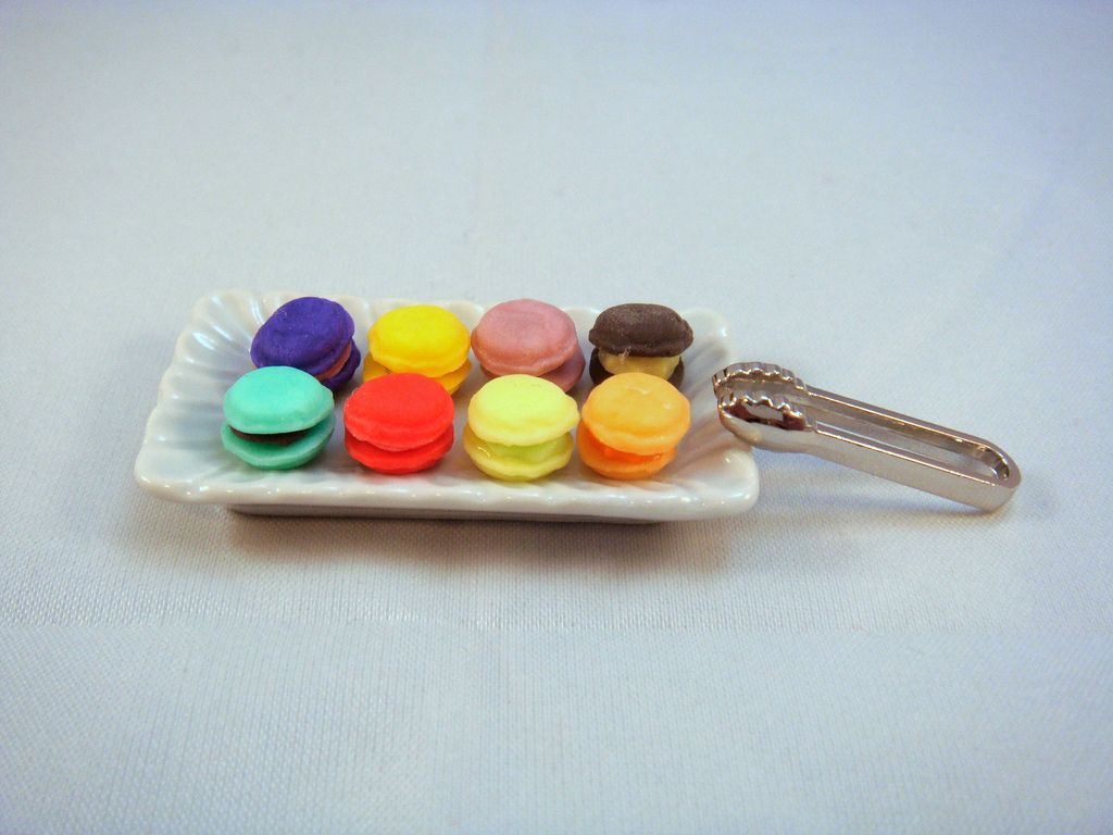 9. Dollhouse Miniature - Plate of rainbow color macaroons