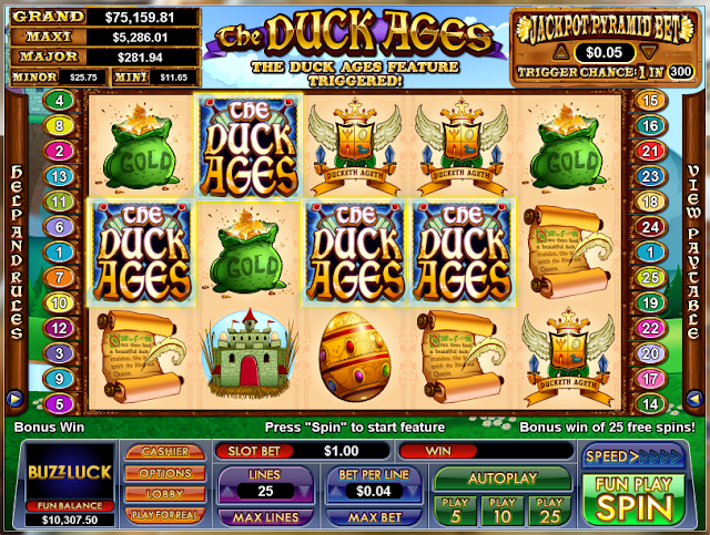 The Duck Ages Freespins Feature Triggered
