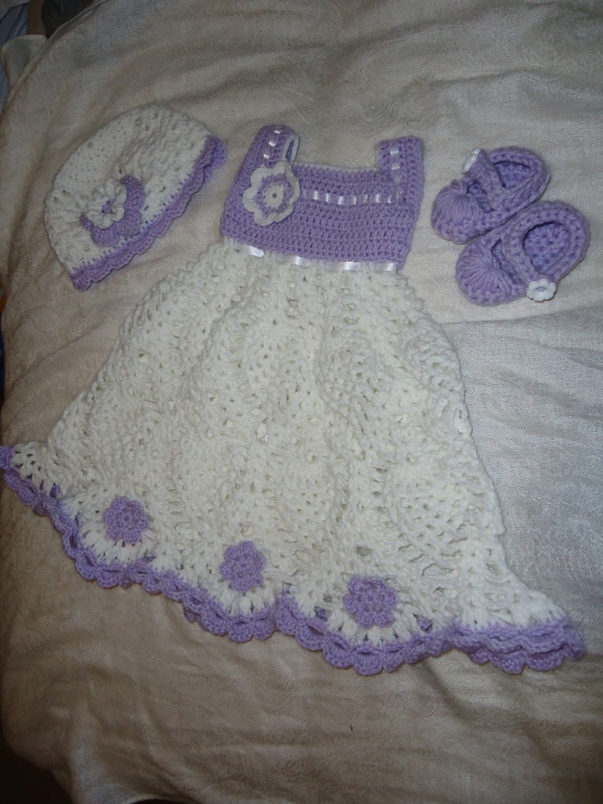Crochetpedia my work newborn baby girl outfit dress hat and shoes