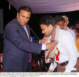 Mr Zahoorullah S MD is being felicitated by Secretary JB Educational Society, Shri J V Krishna Rao