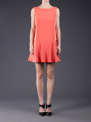 model wearing Rag & Bone Sofia dress in Coral