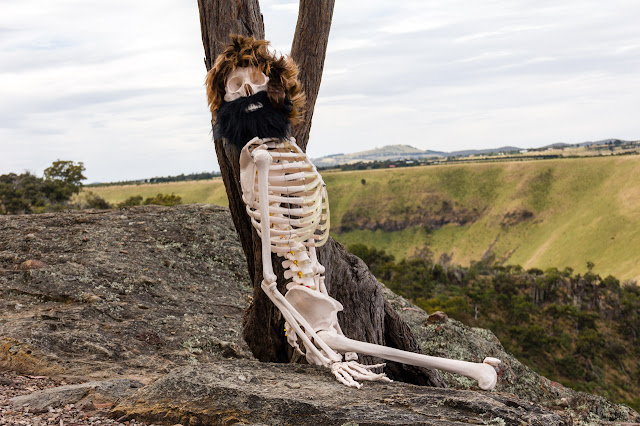 skeleton at falcons lookout wearing a wig and beard