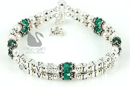 Elaine's Custom Live Life Give Life Organ Donation Awareness Bracelet (B113-2)