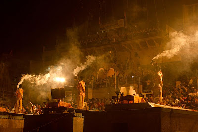 Waving the lights, an aarti on ghat on banks of Ganges River, Kashi/Veranasi