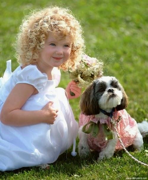 Image de petite fille  avec son chien