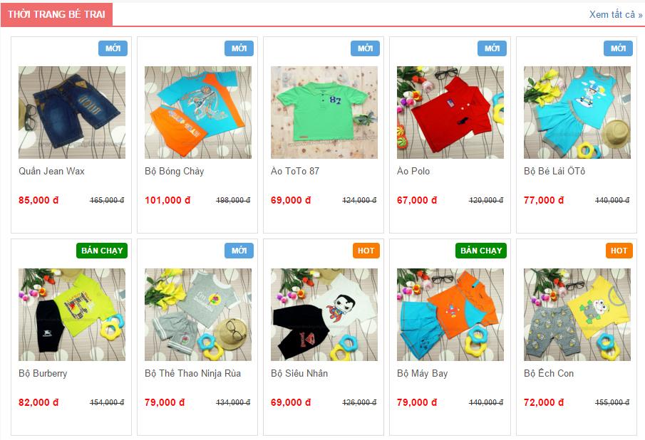 Hiển thị sản phẩm web shop