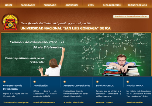 Resultados Ingresantes Examen CEPU UNICA 2012-2 23 de Diciembre
