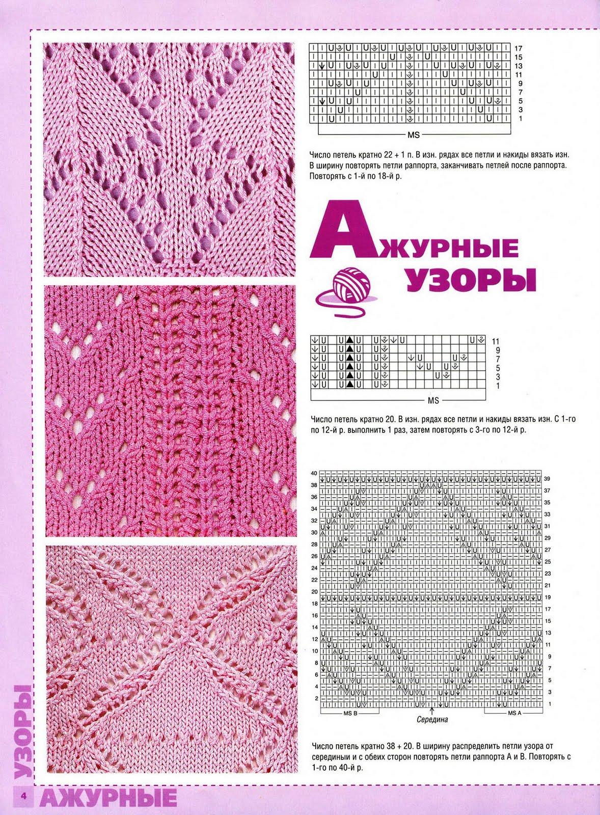 Схемы вязания спицами c ажурными узорами на 14