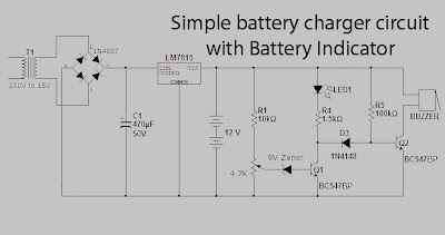 Simple battery charger circuit with battery indicator