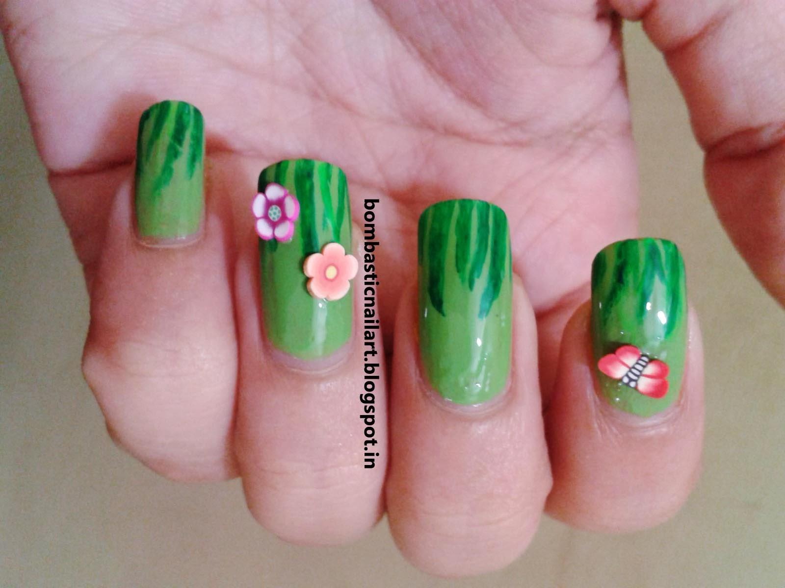 Day 4: Grassy Green Nails – Bombastic Nail Art