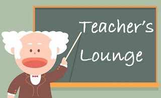 a teacher standing at the chalk board that says teachers lounge