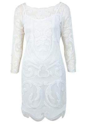 white applique dress