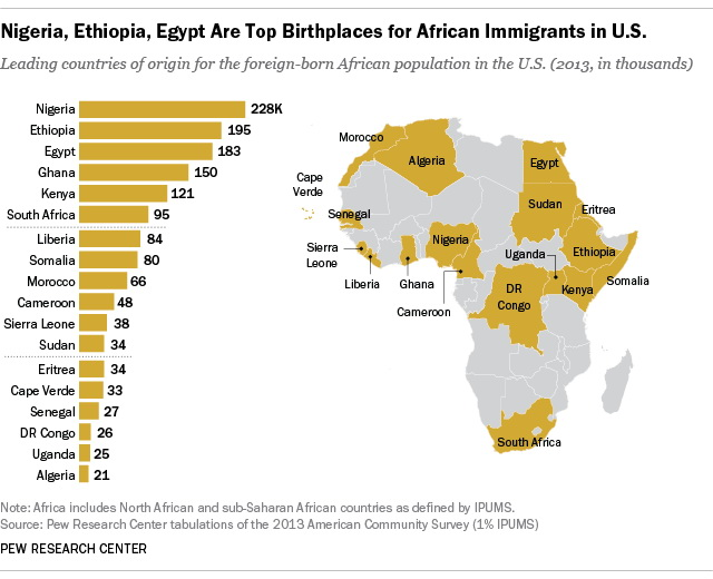 Where African immigrants to the US were born