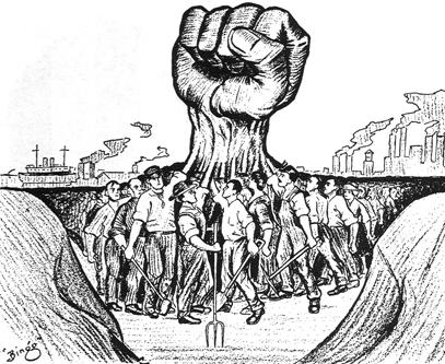 political cartoon of workers uniting to form a giant fist