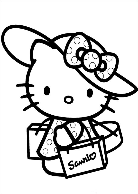 cute hello kitty colouring pages. Hello Kitty Coloring Pages