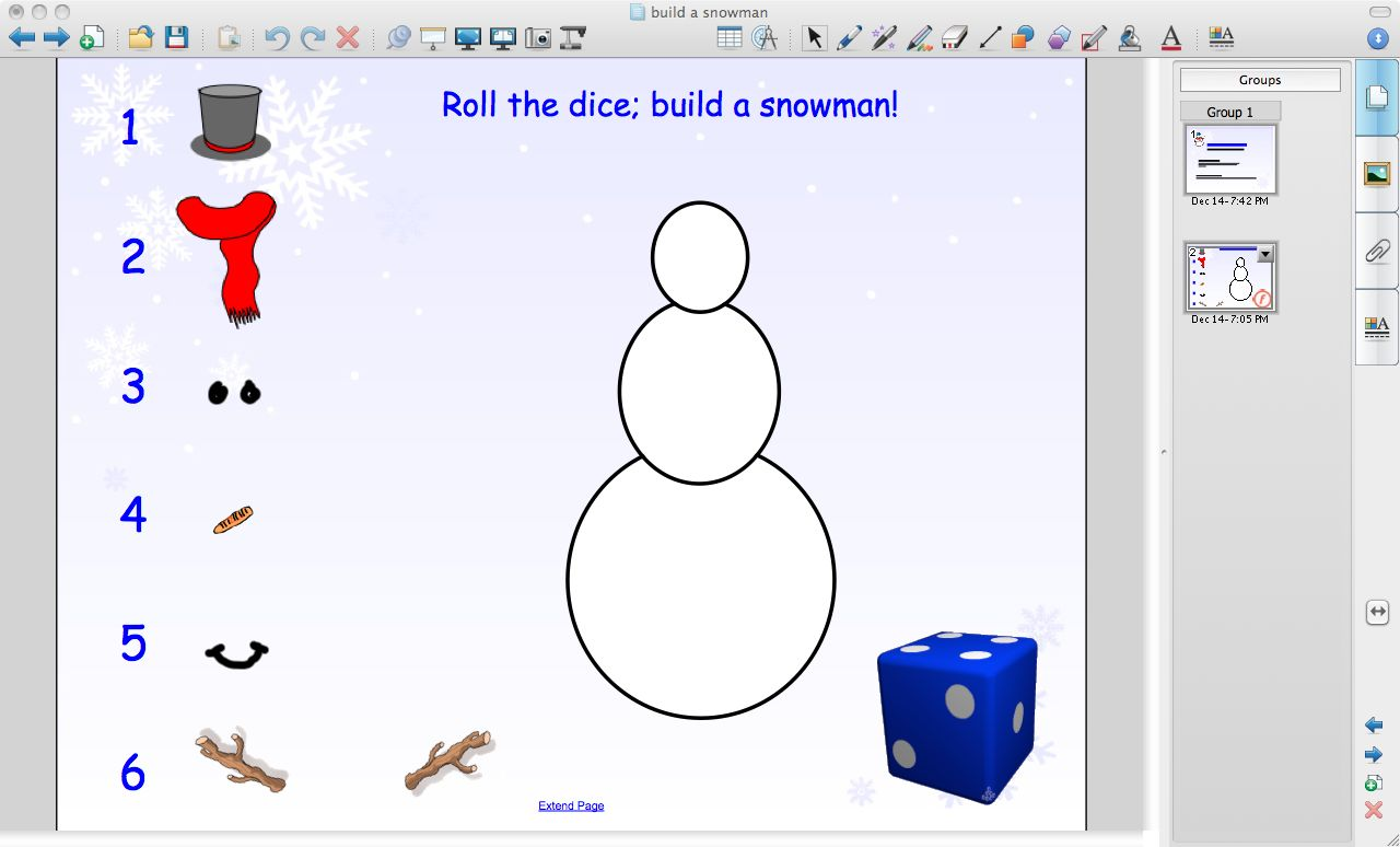 Roll the die; Build a Snowman Smartboard Game