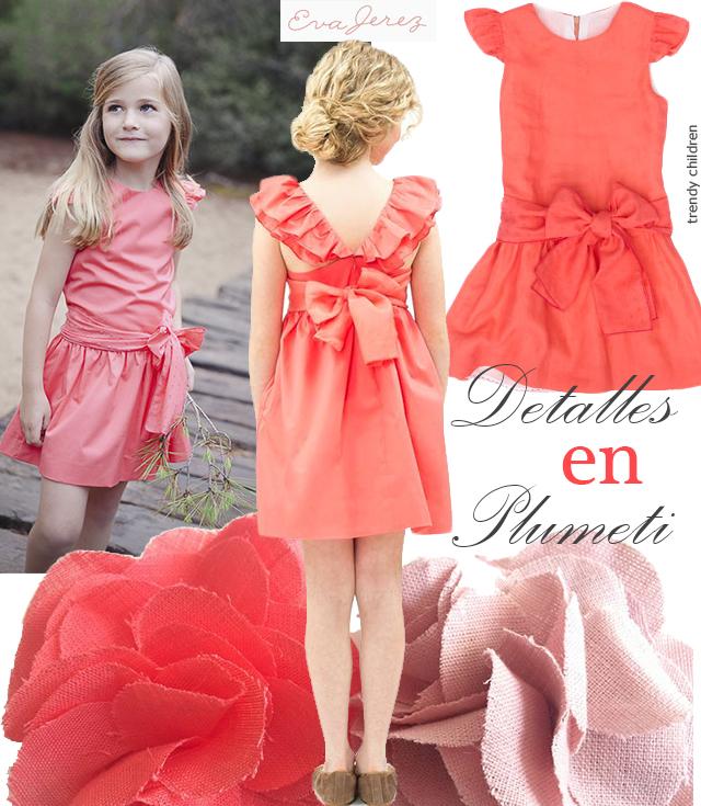 vestido coral plumeti Eva Jerez