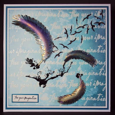 raven feathers ink splat stamps - visible image stamps
