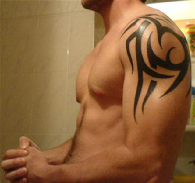 Simple Shoulder Tribal Tattoo For Men