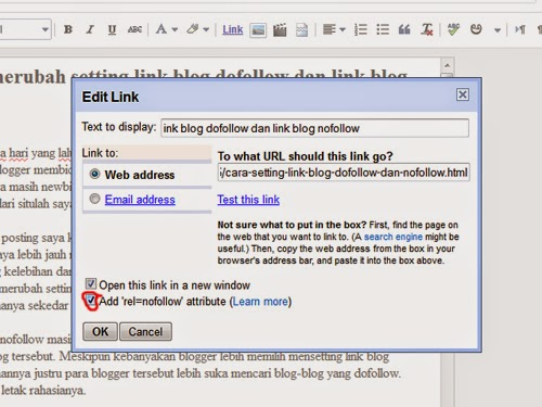 cara setting link blog dofollow
