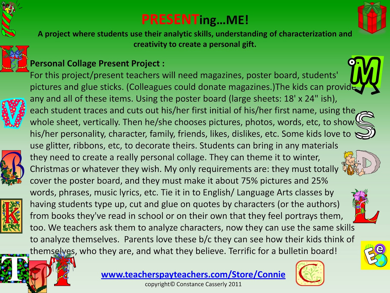 Middle School and High School Activity Language Arts: Personal Collage Present Project