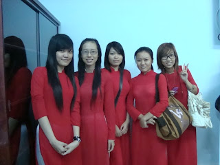 Girl students with Aodai, the Vietnamese dress
