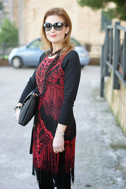 flapper dress, Miu Miu sunglasses, beaded River Island dress, fashion and cookies, fashion blogger