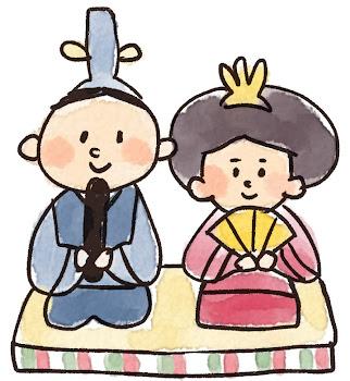 お内裏様とお雛様のイラスト(ひな祭り)