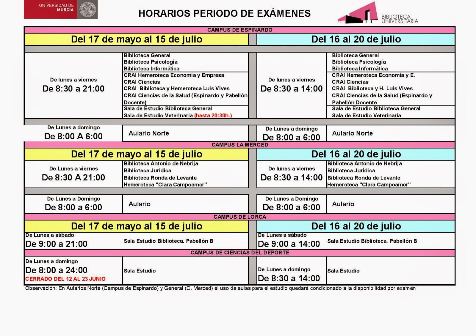 horarios de la Biblioteca Universitaria durante el periodo de exámenes.