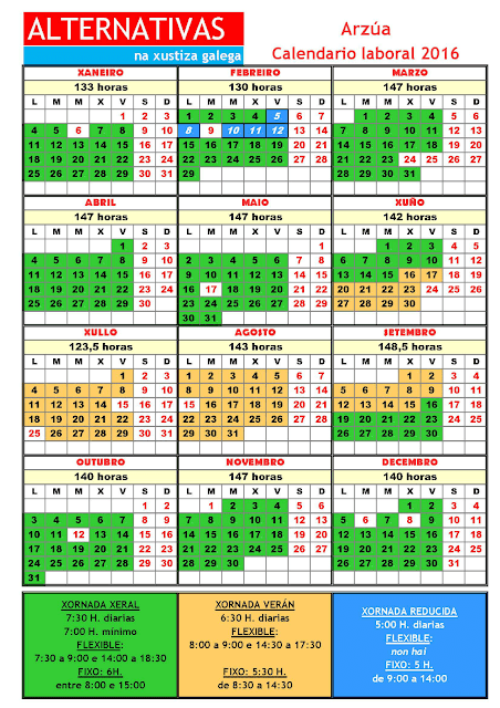 Arzúa. Calendario laboral 2016