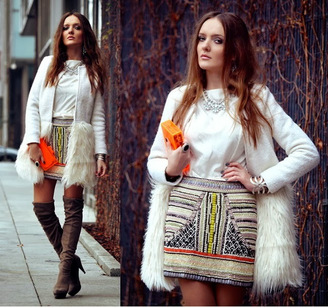 Apricot Long Sleeve Contrast Fur Coat