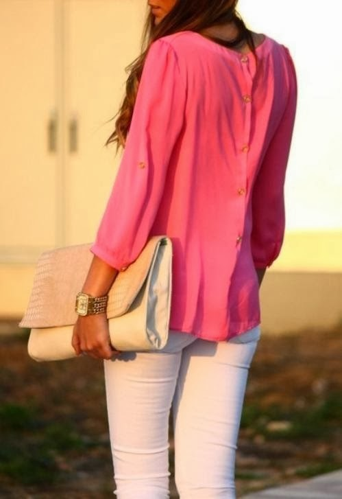 pink top with white pants