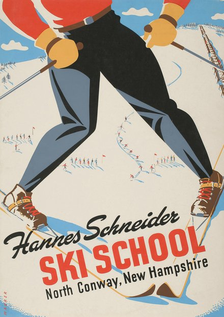 classic posters, free download, graphic design, retro prints, travel, travel posters, vintage, vintage posters, sports, skiing, Hannes Schneider Ski School, North Conway, New Hampshire - Vintage Travel Ski Poster