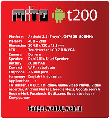Spesifikasi Mito T200 Tablet Android Harga Murah Fitur TV Analog plus Wifi