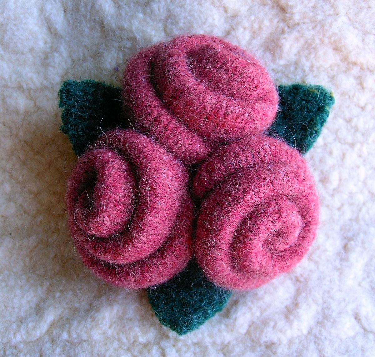 Felted Wool Rose Brooch Tutorial