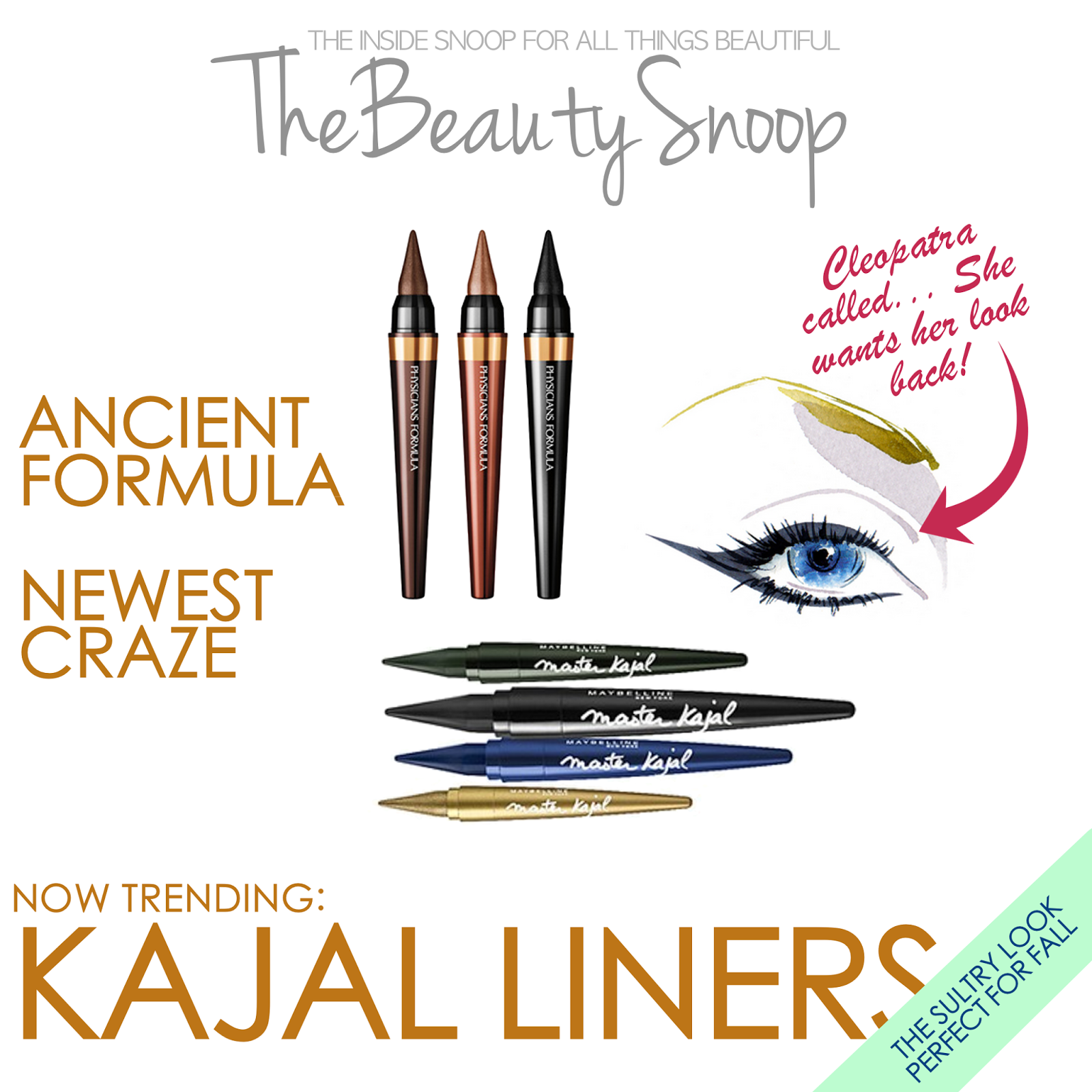 ancient egyptian beauty, now resurfacing as the latest trend in makeup; the kajal liner. Physicians Formula Kajal, Maybelline Master Kajal