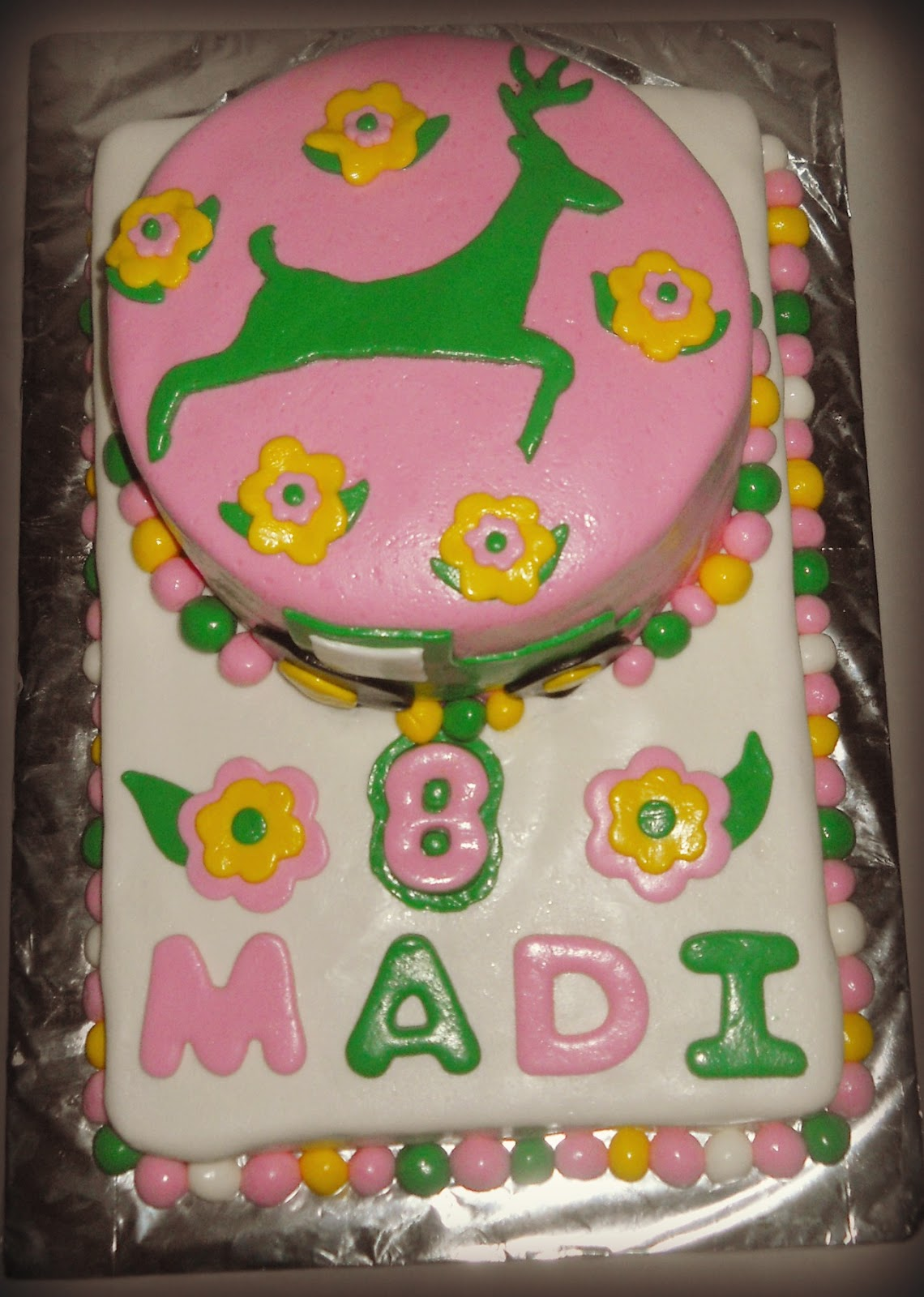 Mandys Cakes John Deere Pink And Green Birthday Cake