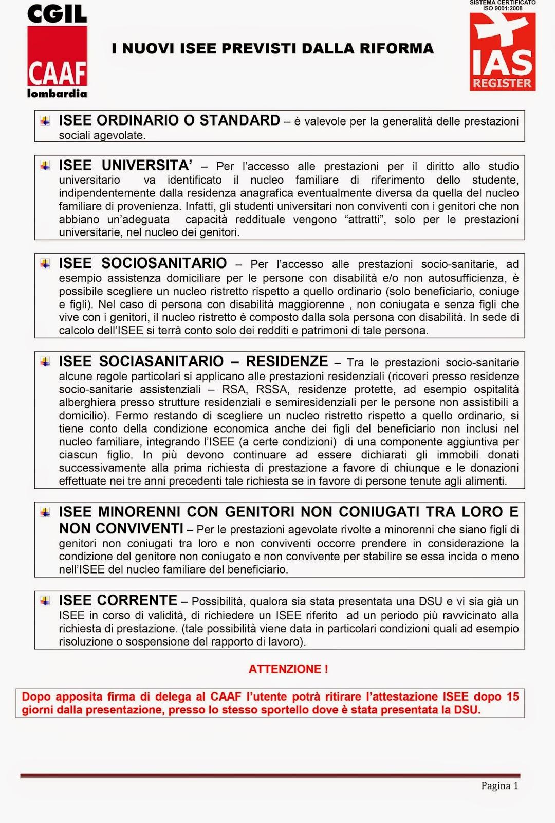 NUOVA DOCUMENTAZIONE PER ISEE 2015