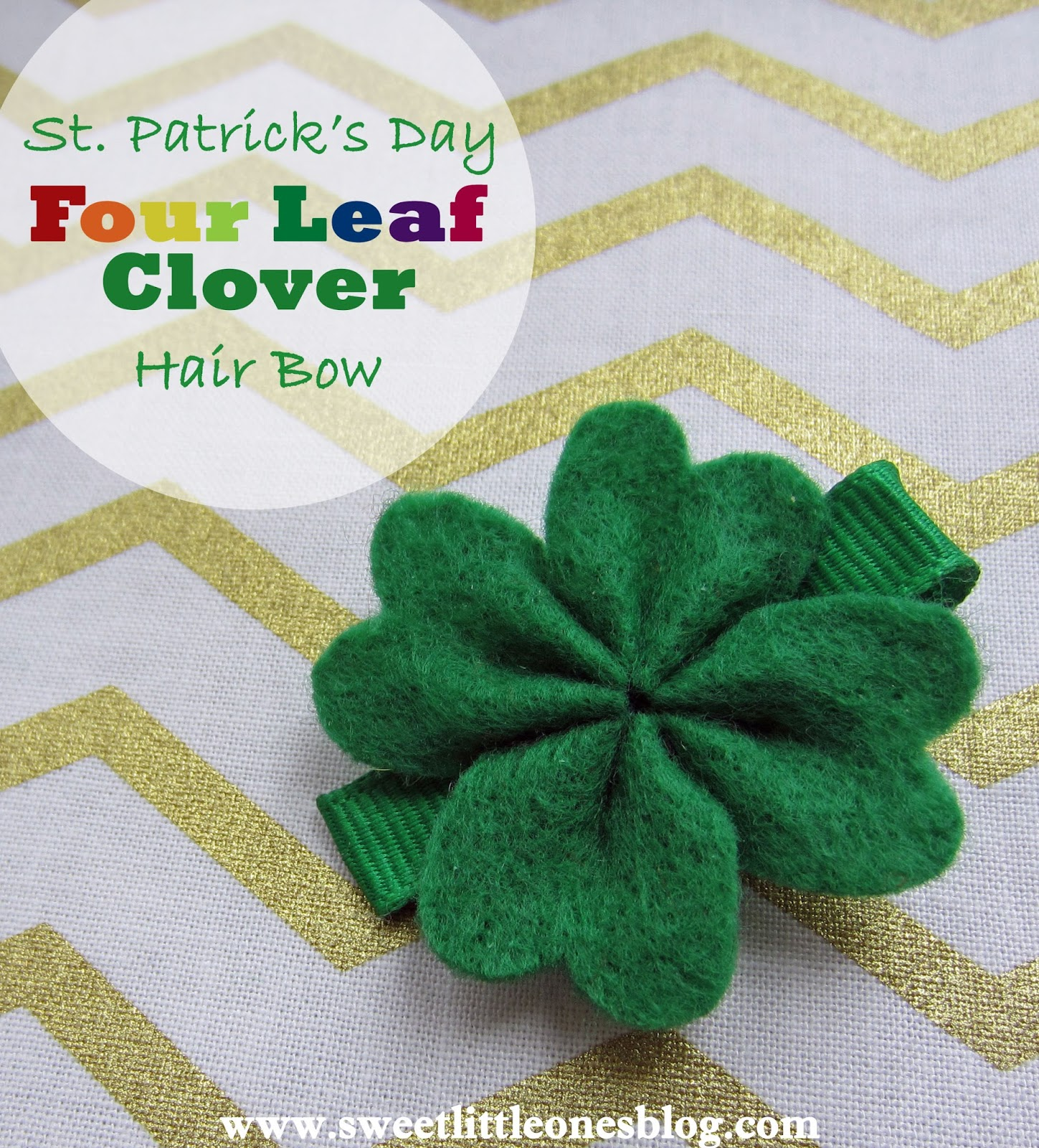 sweet little ones st patrick u0027s day four leaf clover hair bow