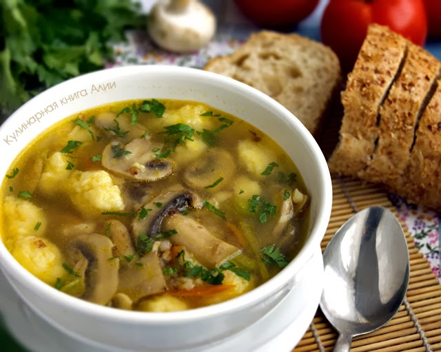 грибной суп с куриной грудкой