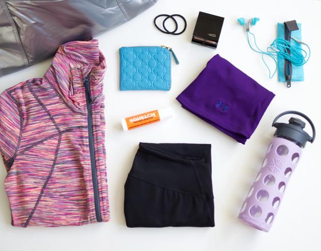 Gym Bag, Zella activewear, Squelch spray bottle, sport earphones, essentials, glass water bottle