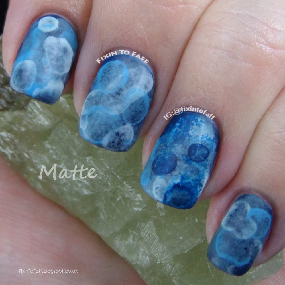Blue matte tranquility aquatic watercolor sponged jellyfish nail art for the 31dc.