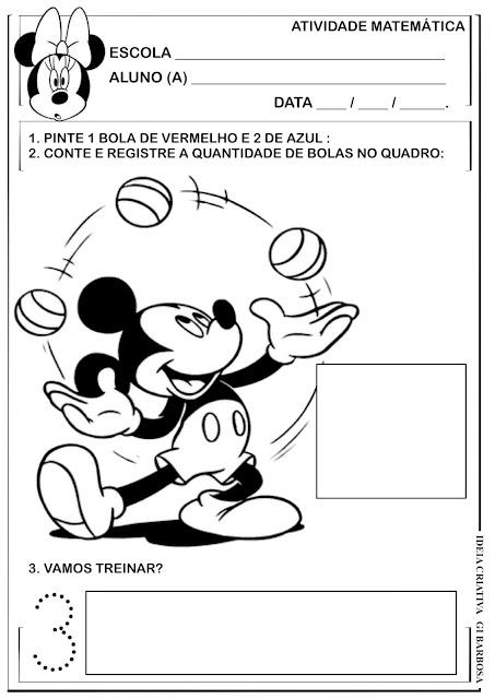 Atividade Numeral 3 Mickey e Minnie