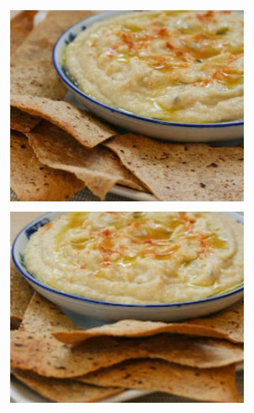 White Bean and Artichoke Dip Recipe with Homemade Whole Wheat Tortilla Chips found on KalynsKitchen.com