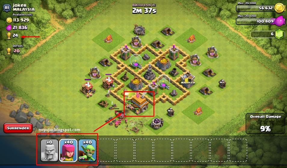 attack untuk meningkatkan level clash of clans