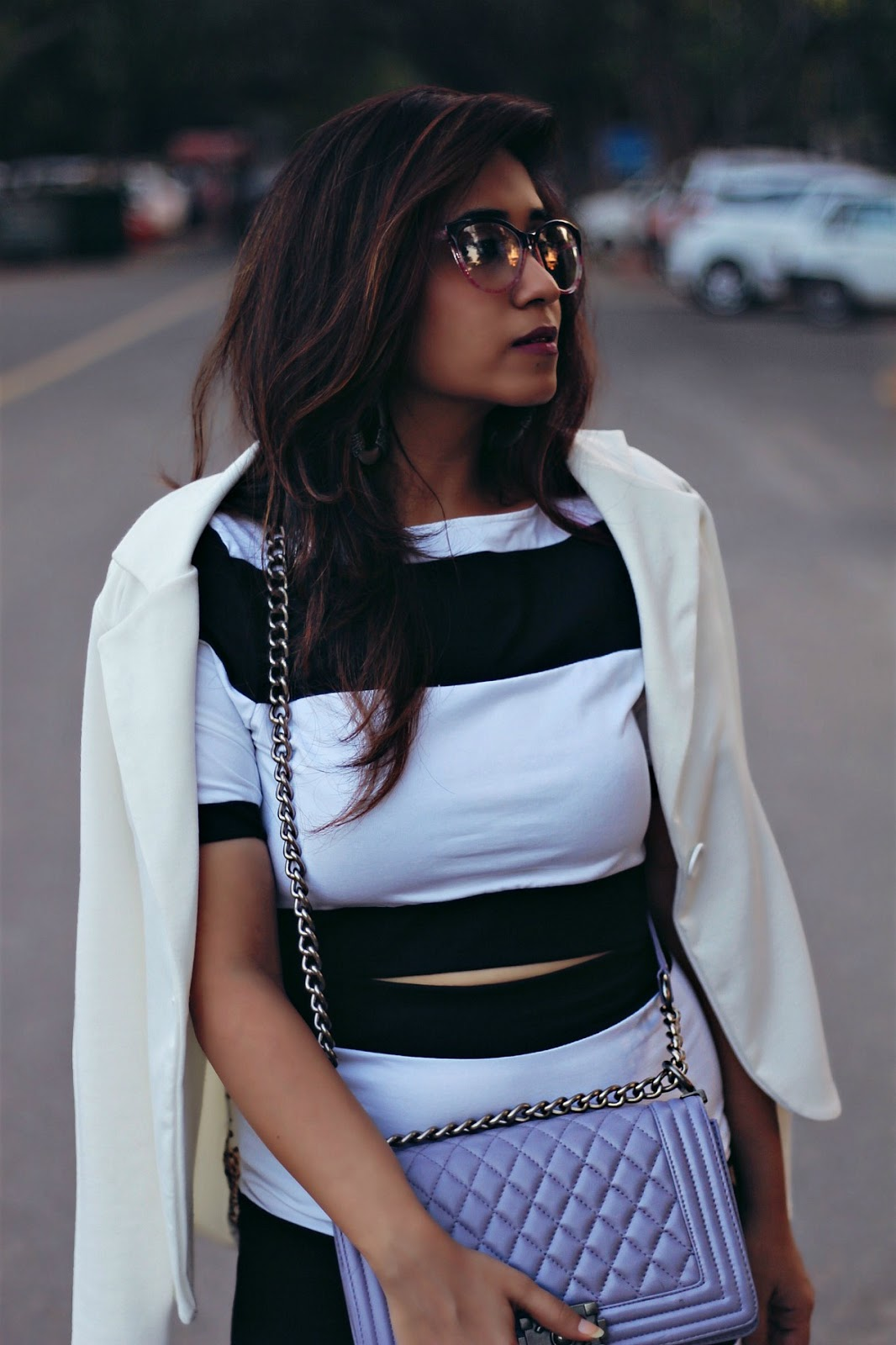 white crop top, pencil skirt