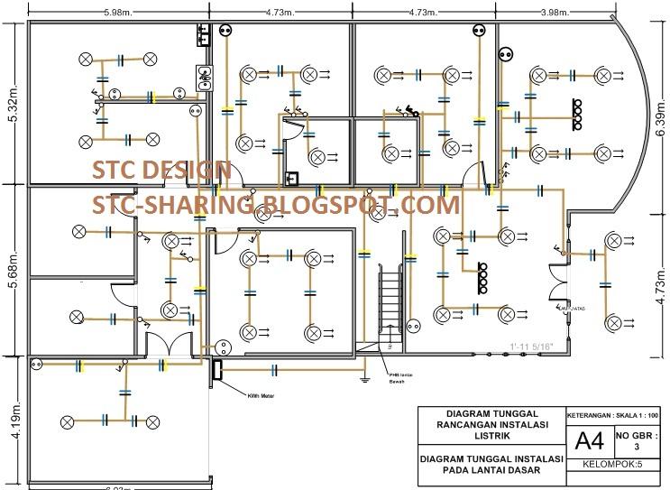 Menggambar rancangan instalasi listrik untuk rumah 2 tingkat dengan diagram kawat tunggal rancangan instalasi listrik bagian lantai dasar swarovskicordoba Images