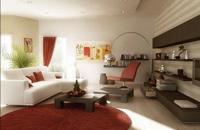 sala branca e vermelha