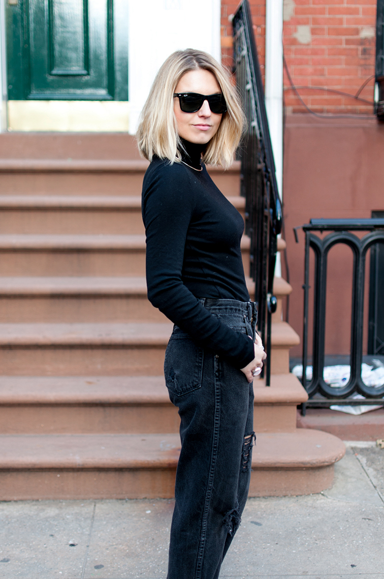 Fashion Over Reason, boyfriend mom jeans, turtleneck, West Village NYC